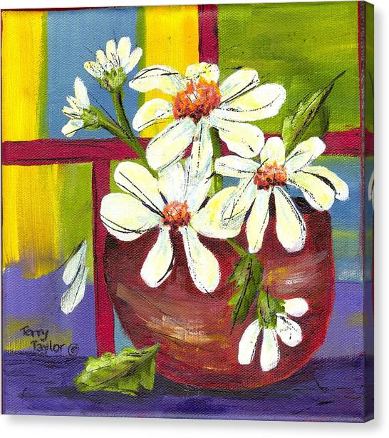 Daisies In A Red Bowl Canvas Print