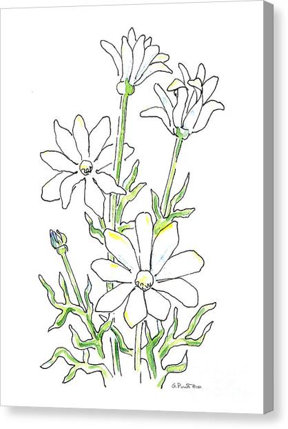 Abstract Lily Canvas Print - Daisy Watercolor Painting 3 by Gordon Punt