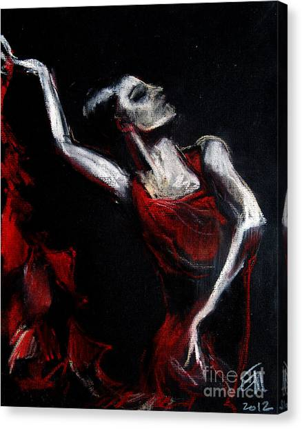 Flamenco Canvas Print - Dancer by Mona Edulesco