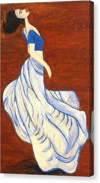 Dancing Girl -acrylic Painting Canvas Print by Rejeena Niaz