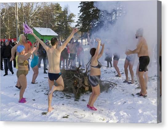 Dancing On The Snow Canvas Print by Aleksandr Volkov