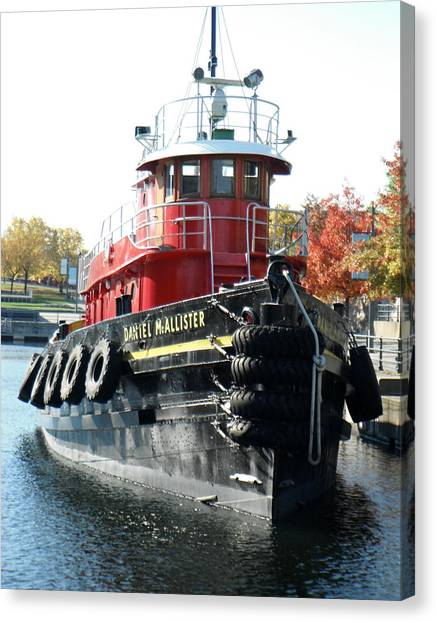 Daniel Mcallister Tug Boat Old Port Montreal Canada Canvas Print by Rosie Brown