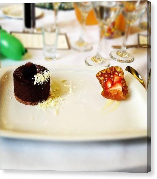 Happy Birthday Canvas Print - Dark Chocolate Torte With Rum Custard by Natalie Ho