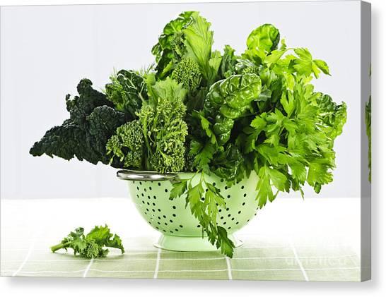 Broccoli Canvas Print - Dark Green Leafy Vegetables In Colander by Elena Elisseeva