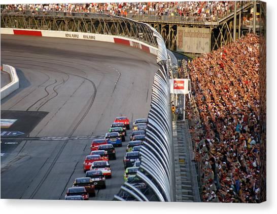 Stock Cars Canvas Print - Darlington Start Finish Line by Matthew Trudeau