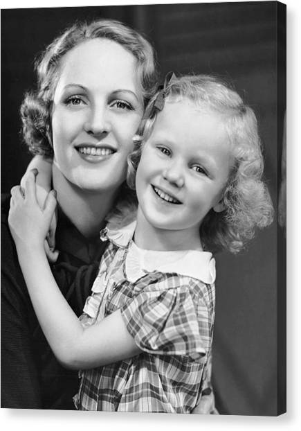 Daughter W/ Arm Around Mother Canvas Print by George Marks