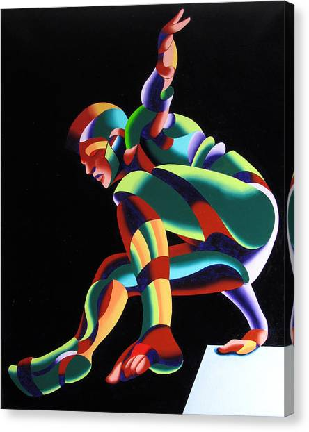 Dave 25-03 - Abstract Geometric Figurative Oil Painting Canvas Print by Mark Webster