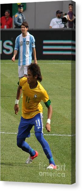 Lionel Messi Canvas Print - David And Goliath Lionel Messi And Neymar Junior by Lee Dos Santos
