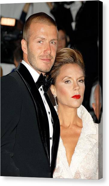 David Beckham Canvas Print - David Beckham And Victoria Beckham by Everett