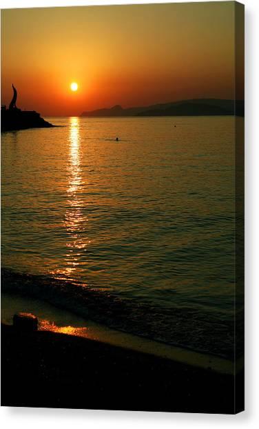 Dawn Swimmer Canvas Print