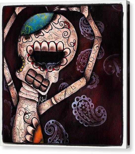 Tattoo Canvas Print - Day Of The Dead Painting - Huge 20x30 by Abril Andrade Griffith