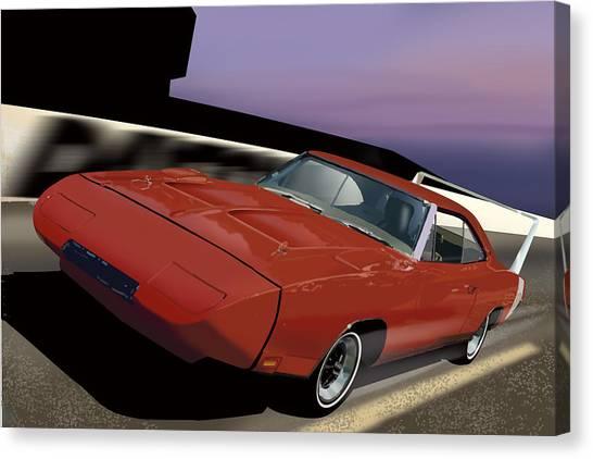 Stock Cars Canvas Print - Daytona Nights by Richard Herron