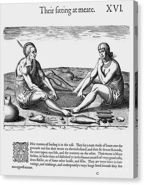 Indian Corn Canvas Print - De Bry: Native American Eating by Granger