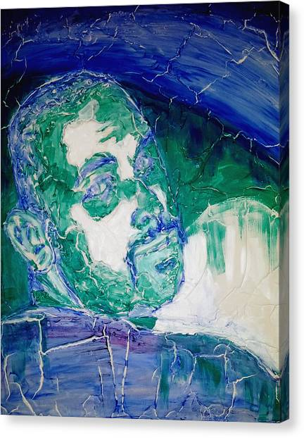 Death Metal Portrait In Blue And Green With Fu Man Chu Mustache And Cracking Textured Canvas Canvas Print