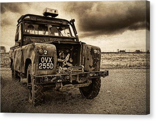 Decaying Landrover At Dungeness Canvas Print by David Turner