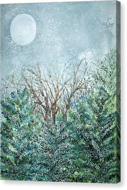 December Full Cold Moon Canvas Print by Robin Samiljan