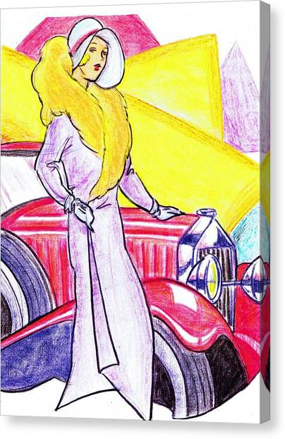 Classic Car Drawings Canvas Print - Deco Lady With Auto by Mel Thompson