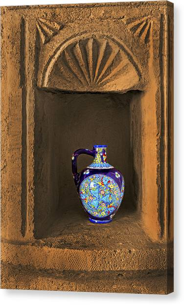 Decorative Carafe In An Alcove Canvas Print by Kantilal Patel