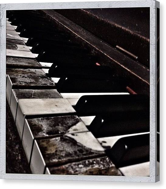 Keyboards Canvas Print - Decrepit Upright Piano In The Modish by Christopher Hughes