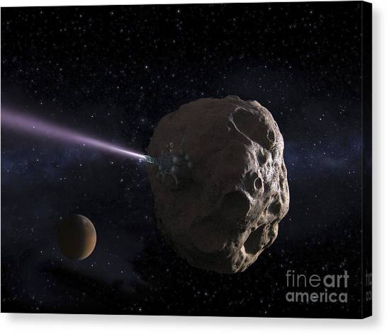 Planetoid Canvas Print - Deflecting Path Of An Earth-crossing by Ron Miller