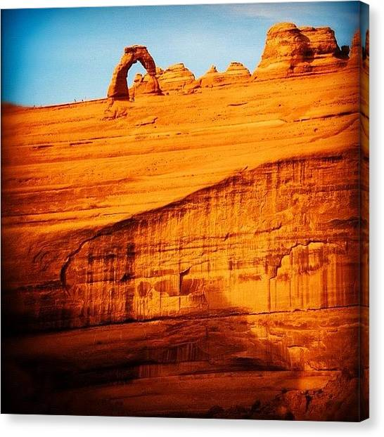 Red Rock Canvas Print - Delicate Arch. #arches #moab #utah #red by Stephen Whitaker
