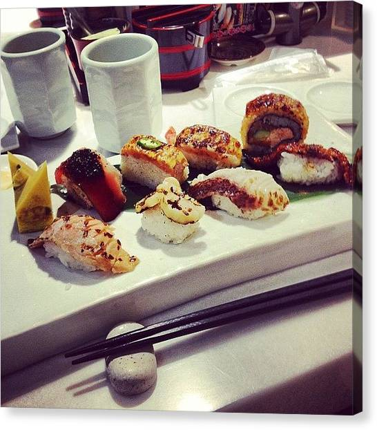 Grills Canvas Print - Delicious Grilled Sushi by Aldo Bloise