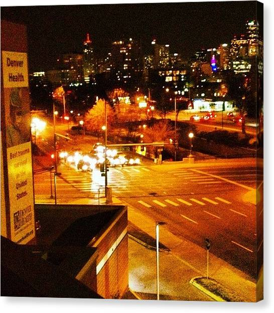 Stoplights Canvas Print - Denver Skyline 1 by Jonathan Joslyn