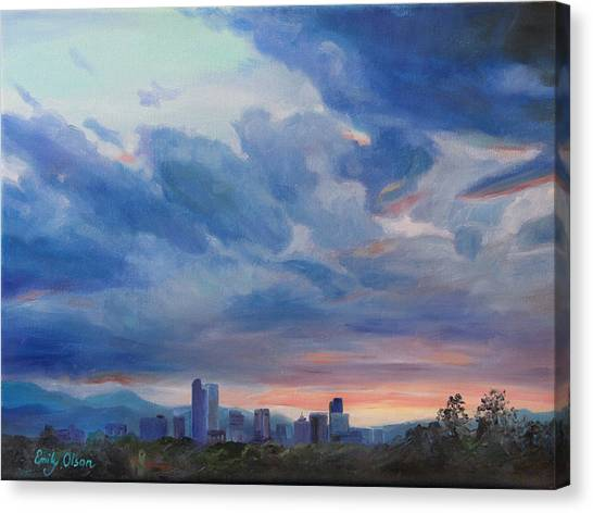 Denver Skyline At Sunset Canvas Print