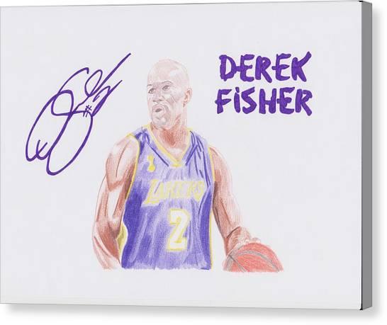 La Lakers Canvas Print - Derek Fisher by Toni Jaso
