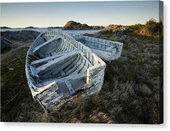 Newfoundland And Labrador Canvas Print - Derelict Boats, Change Islands by John Sylvester