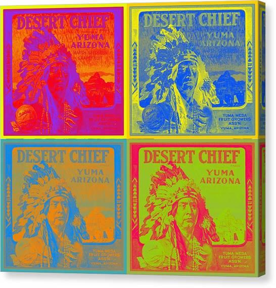 Desert Chief Cigar Box Label Canvas Print by Dwayne  Graham