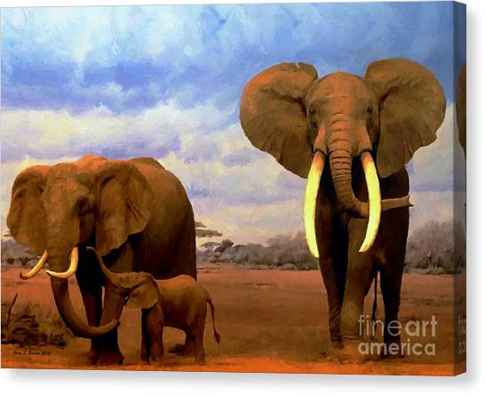 Desert Elephants Canvas Print