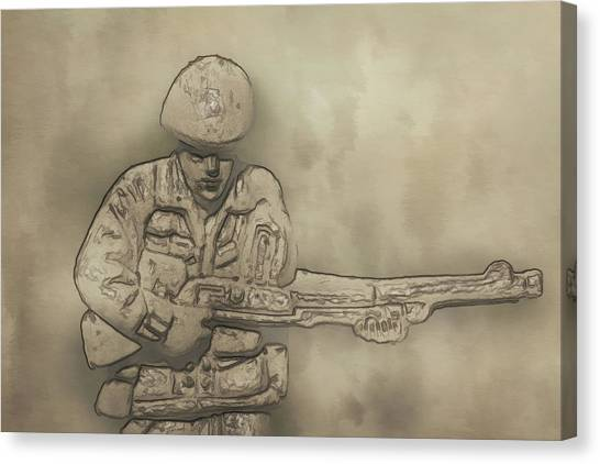 Green Camo Canvas Print - Desert Storm Army Soldier by Randy Steele