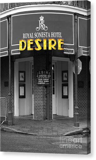 Desire Corner Bourbon Street French Quarter New Orleans Color Splash Black And White Digital Art  Canvas Print