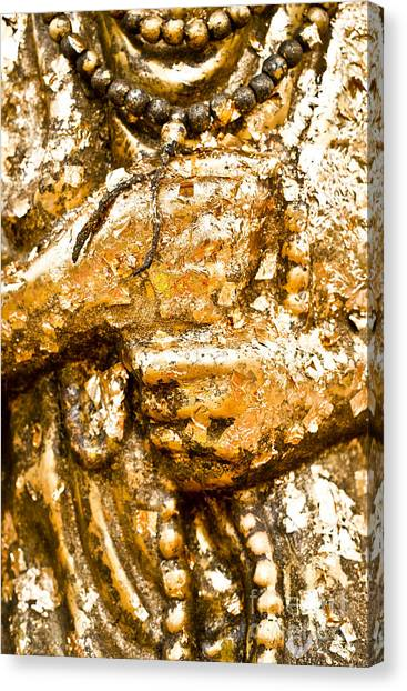 Details Of Golden Buddha Statue Canvas Print by Chavalit Kamolthamanon