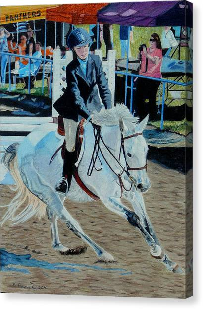 Determination - Horse And Rider - Horseshow Painting Canvas Print