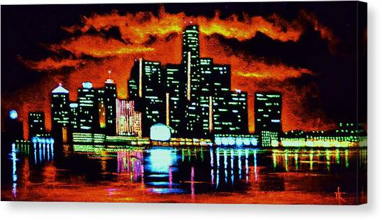 Detroit In Black Light Sold Canvas Print