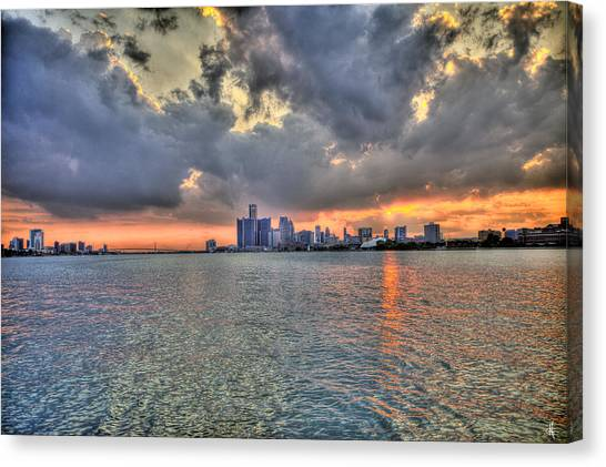 New York Red Bulls Canvas Print - Detroit Sunset  by Nicholas  Grunas