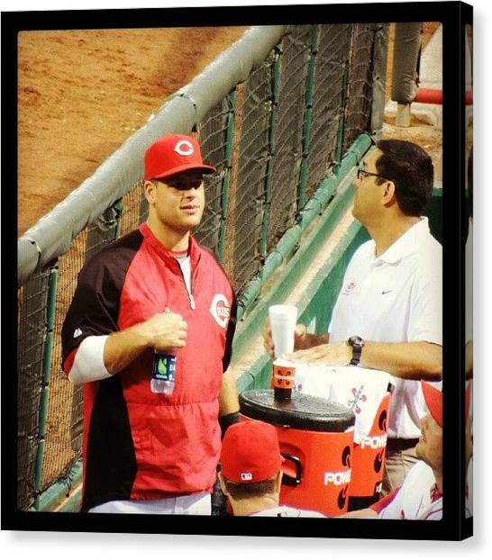 Baseball Teams Canvas Print - Devin Mesoraco by Reds Pics
