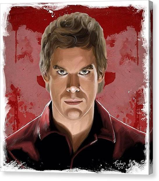 Pencils Canvas Print - Dexter by Tony Santiago