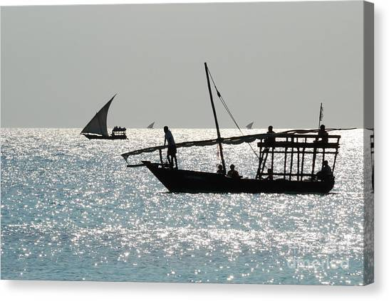 Dhows Canvas Print by Alan Clifford