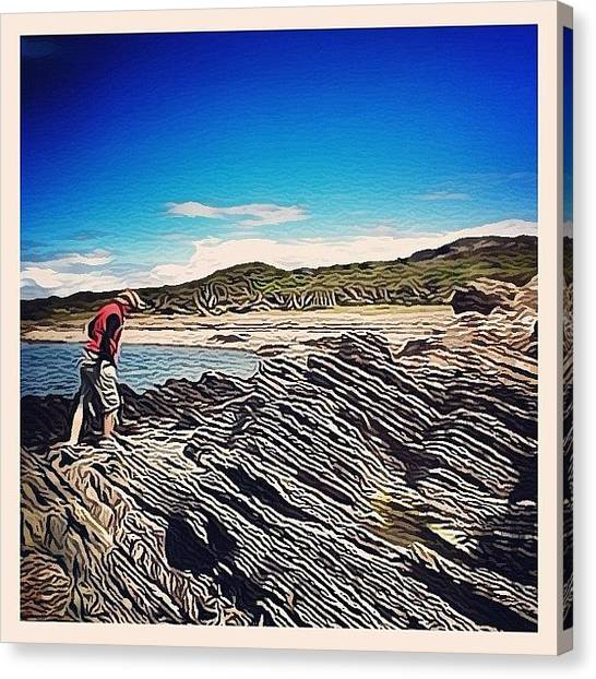 Geology Canvas Print - Diagonal Beach... #beach #rock #rocks by Robert Campbell