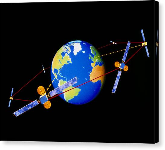 Comsats Canvas Print - Diagram Of Comms Satellites Linked By Lasers by Julian Baum