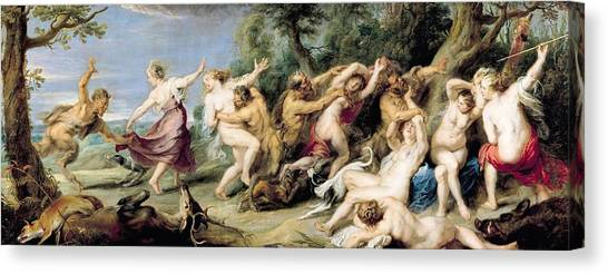 Faun Canvas Print - Diana And Her Nymphs Surprised By Fauns by Rubens