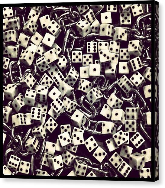 Lucky Canvas Print - Dice And A Chain - #dice #chain by Troy Thomas