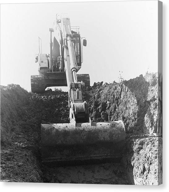 Backhoes Canvas Print - #digger #backhoe #archaeology #cambridge by Adam Slater