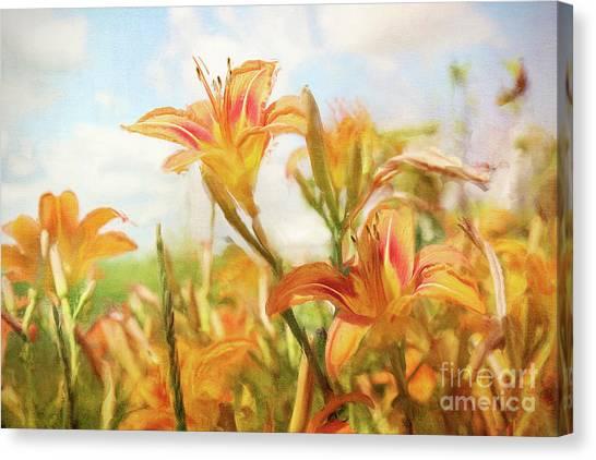 Daylily Canvas Print - Digital Painting Of Orange Daylilies by Sandra Cunningham