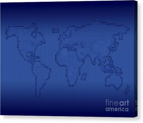 Pixelated Canvas Print - Digitally Generated Image Of The World by Vlad Gerasimov