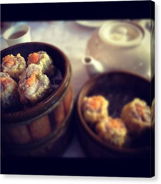 Tea Canvas Print - Dimsum #shumai #asianfood #restuarant by Zyrus Zarate