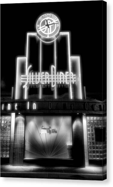 Diner At Night Canvas Print by Steven Ainsworth